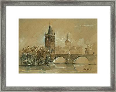 Prague Charles Bridge Painting Framed Print