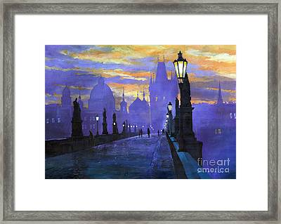 Prague Charles Bridge Sunrise Framed Print by Yuriy  Shevchuk