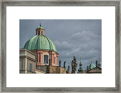 Framed Print featuring the photograph Prague Church Dome by Stuart Litoff