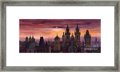 Prague City Of Hundres Spiers Framed Print by Yuriy  Shevchuk