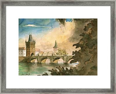 Prague Cityscape Art Framed Print