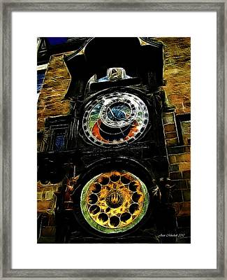 Prague Clock Framed Print by Joan  Minchak