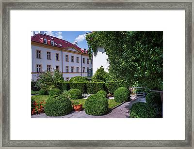 Framed Print featuring the photograph Prague Courtyards. Regular Style Garden by Jenny Rainbow