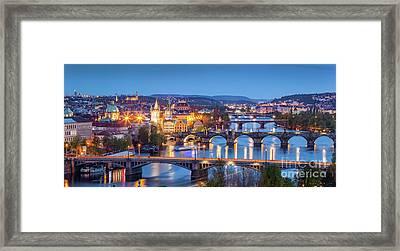 Prague, Czech Republic Bridges Panorama. Charles Bridge And Vltava River At Night Framed Print by Michal Bednarek