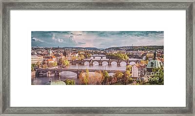 Prague, Czech Republic Bridges Skyline With Historic Charles Bridge And Vltava River. Vintage Framed Print by Michal Bednarek