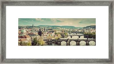 Prague, Czech Republic Bridges Skyline With Historic Charles Bridge Framed Print