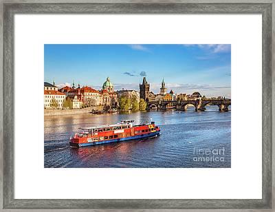 Prague, Czech Republic. Charles Bridge, Boat Cruise On Vltava River Framed Print