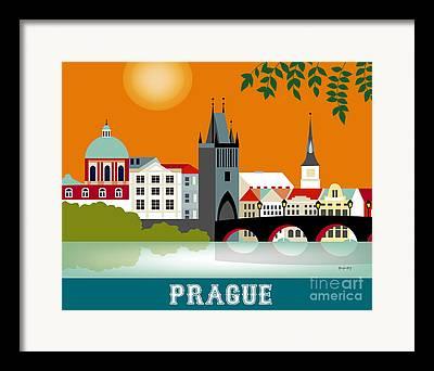 Charles Bridge Digital Art Framed Prints