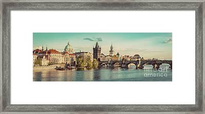 Prague, Czech Republic Panorama With Historic Charles Bridge And Vltava River Framed Print