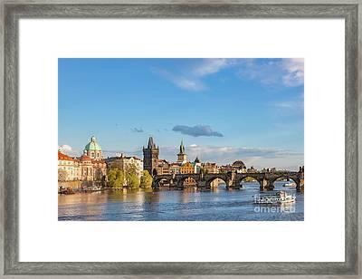 Prague, Czech Republic Skyline With Historic Charles Bridge And Vltava River Framed Print by Michal Bednarek