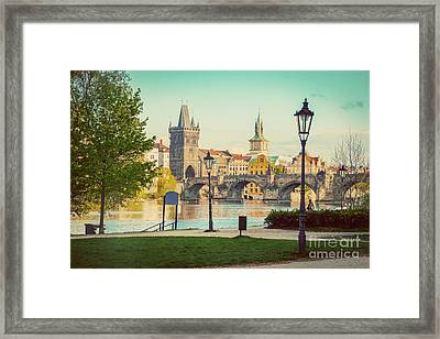 Prague, Czech Republic Skyline With Historic Charles Bridge And Vltava River. Vintage Framed Print