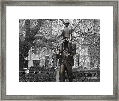 Prague. Franz Kafka Statue Framed Print by Juli Scalzi