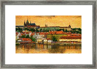 Prague From Charles Bridge At Sunset Framed Print