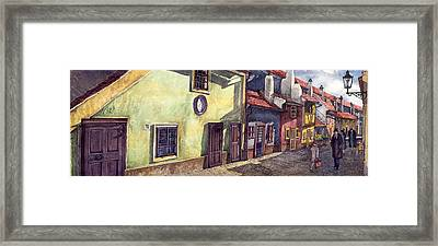 Prague Golden Line Street Framed Print by Yuriy  Shevchuk