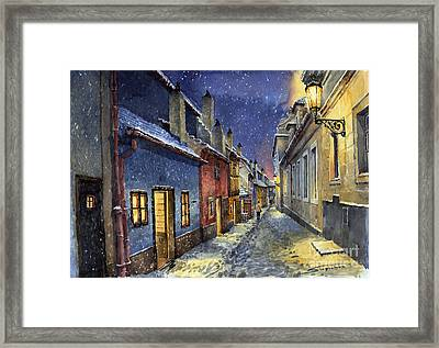 Prague Golden Line Winter Framed Print