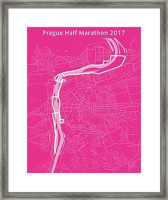 Prague Half Marathon Magenta Framed Print by Big City Artwork