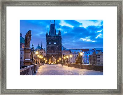 Prague In Blue Framed Print by Martin Capek