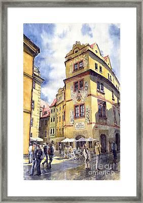 Prague Karlova Street Hotel U Zlate Studny Framed Print