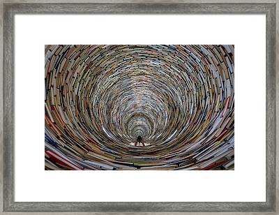 Framed Print featuring the photograph Prague Library Book Tower by Stuart Litoff