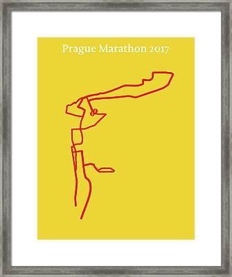 Prague Marathon Line Framed Print by Big City Artwork