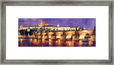 Prague Night Panorama Charles Bridge  Framed Print