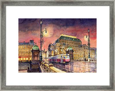 Prague  Night Tram National Theatre Framed Print by Yuriy  Shevchuk
