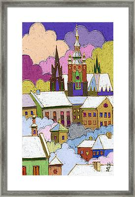 Prague Old Roofs Prague Castle Winter Framed Print