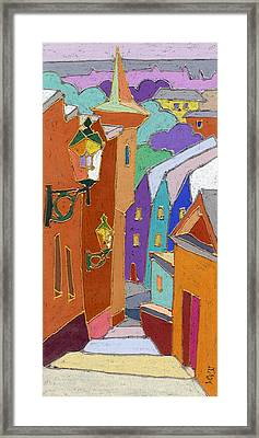 Prague Old Steps Winter Framed Print