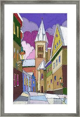 Prague Old Street Jilska Winter Framed Print by Yuriy  Shevchuk