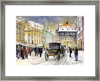 Prague Old Town Square Winter Framed Print by Yuriy  Shevchuk