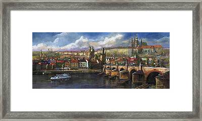 Prague Panorama Charles Bridge Prague Castle Framed Print by Yuriy  Shevchuk