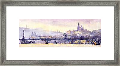 Prague Panorama Chehuv Bridge Framed Print by Yuriy  Shevchuk