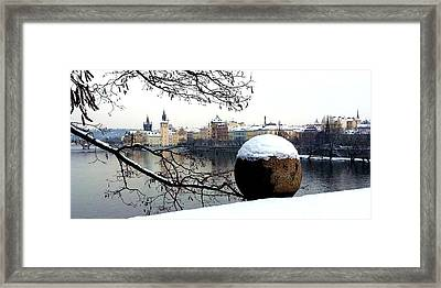 Prague Riverbank In Winter Framed Print by Radka Zimova King