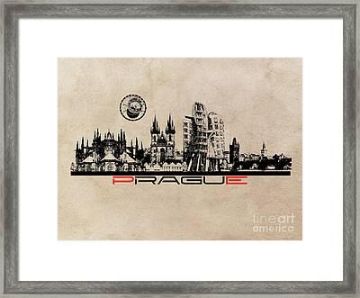 Prague Skyline City Framed Print