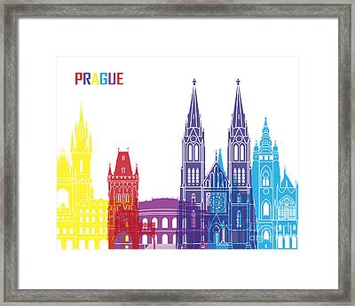 Prague Skyline Pop Framed Print by Pablo Romero