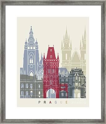 Prague Skyline Poster Framed Print