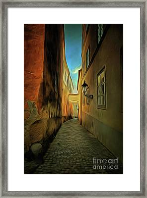 Prague Street - Historical Centre Of The Prague Framed Print by Michal Boubin