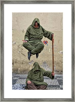 Framed Print featuring the photograph Prague Street Performer by Stuart Litoff