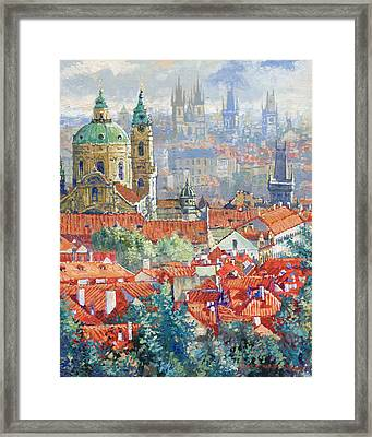 Prague Summer Panorama 1 Framed Print by Yuriy Shevchuk