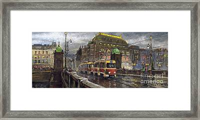 Prague Tram Legii Bridge National Theatre Framed Print by Yuriy  Shevchuk