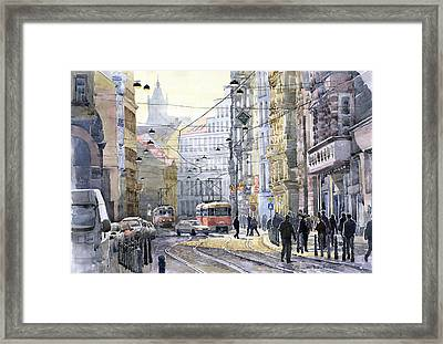 Prague Vodickova Str Framed Print by Yuriy  Shevchuk