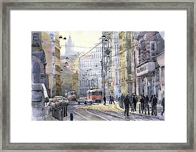 Prague Vodickova Str Framed Print