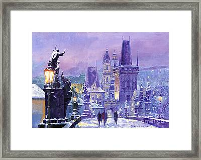 Prague Winter Charles Bridge Framed Print by Yuriy Shevchuk