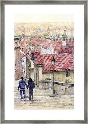 Prague Zamecky Schody Castle Steps Framed Print by Yuriy  Shevchuk