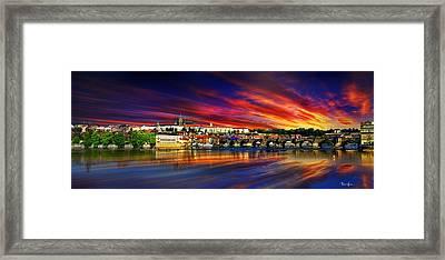 Pragues Historic Charles Bridge Framed Print
