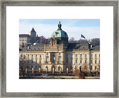 Prague's Vltava River Waterfront Framed Print by Miroslav Nemecek