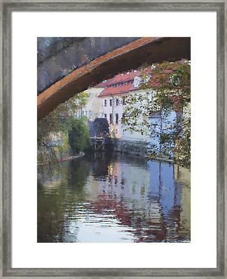 Praha Canal Dusk Framed Print