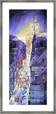 Praha Mostecka Str. Winter Evening Framed Print