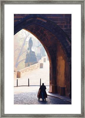 Praha Push Cart Artist Framed Print by Shawn Wallwork