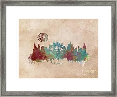 Praha Skyline Panorame Framed Print